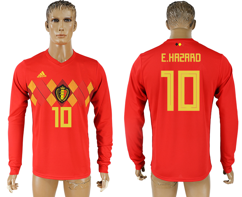 Men 2018 World Cup National Belgium home long sleeve aaa version 10 soccer jersey