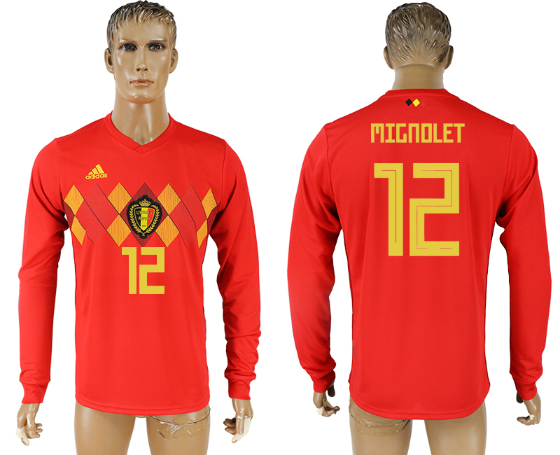 Men 2018 World Cup National Belgium home long sleeve aaa version 12 soccer jersey