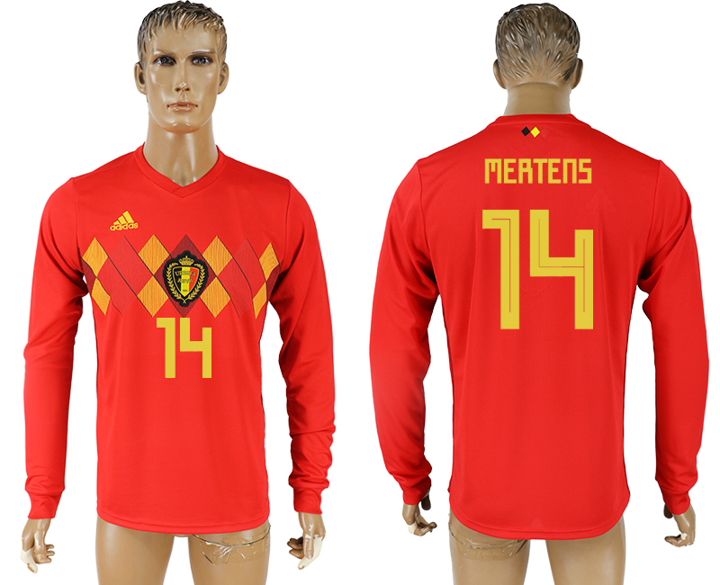 Men 2018 World Cup National Belgium home long sleeve aaa version 14 soccer jersey