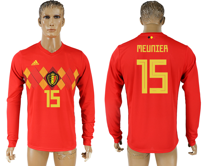 Men 2018 World Cup National Belgium home long sleeve aaa version 15 soccer jersey