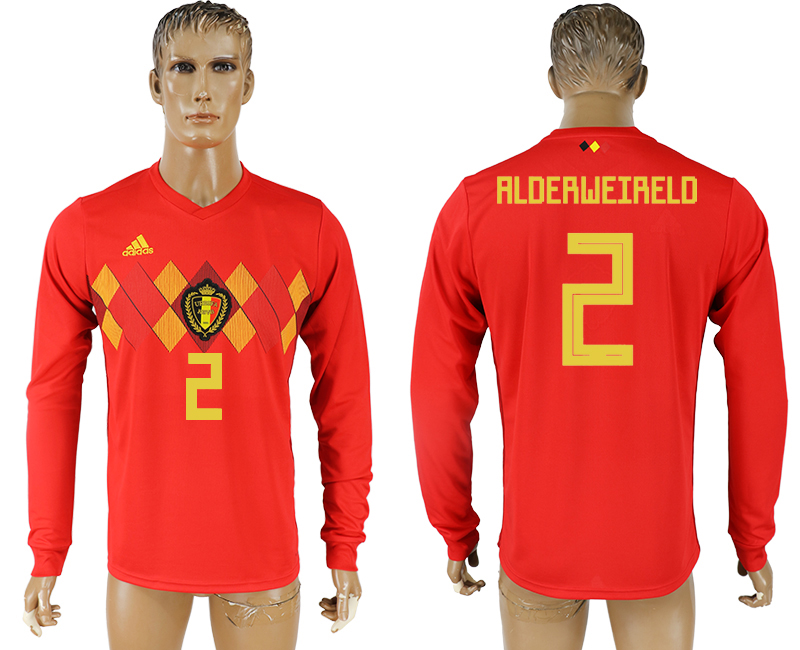 Men 2018 World Cup National Belgium home long sleeve aaa version 2 soccer jersey
