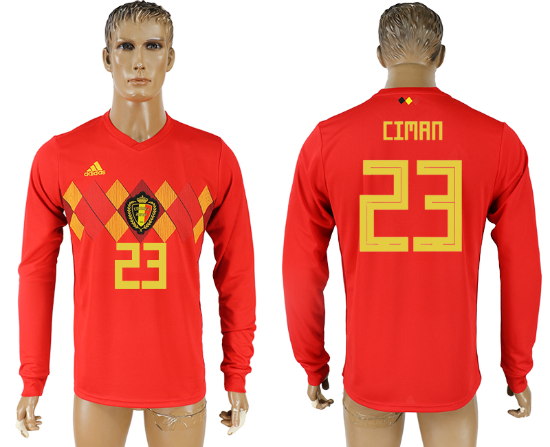 Men 2018 World Cup National Belgium home long sleeve aaa version 23 soccer jersey