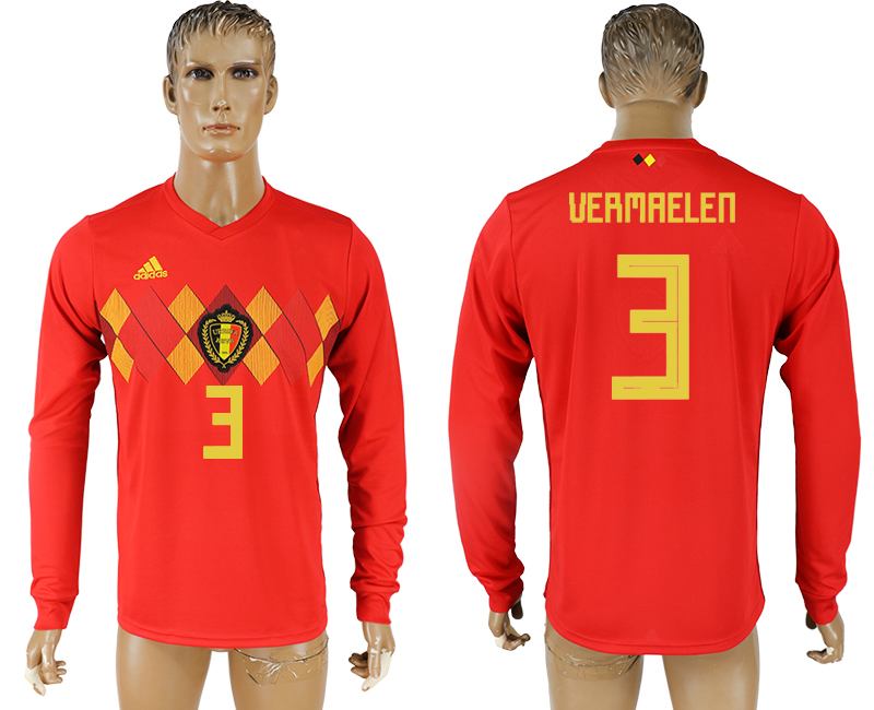 Men 2018 World Cup National Belgium home long sleeve aaa version 3 soccer jersey