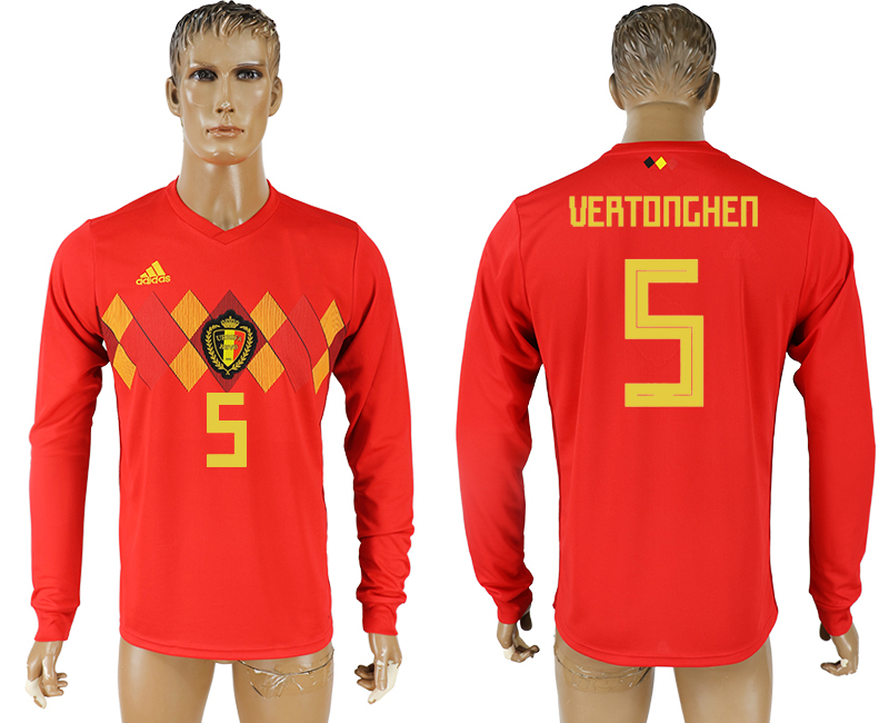 Men 2018 World Cup National Belgium home long sleeve aaa version 5 soccer jersey