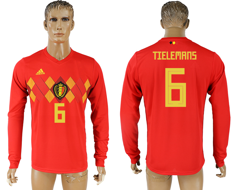 Men 2018 World Cup National Belgium home long sleeve aaa version 6 soccer jersey