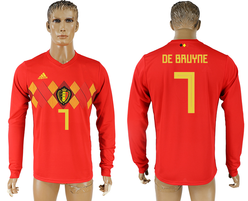 Men 2018 World Cup National Belgium home long sleeve aaa version 7 soccer jersey