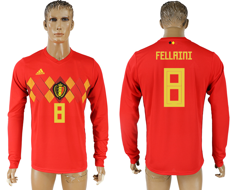Men 2018 World Cup National Belgium home long sleeve aaa version 8 soccer jersey