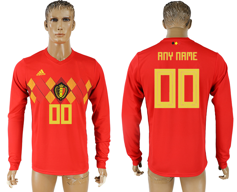 Men 2018 World Cup National Belgium home long sleeve aaa version customized soccer jersey