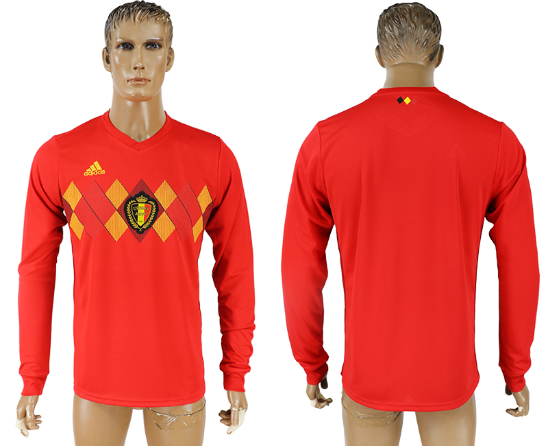 Men 2018 World Cup National Belgium home long sleeve aaa version soccer jersey