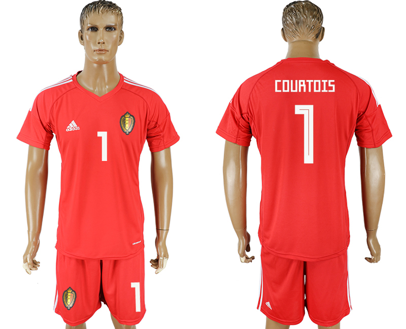 Men 2018 World Cup National Belgium red goalkeeper 1 soccer jersey
