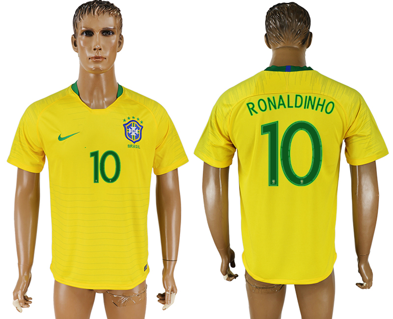 Men 2018 World Cup National Brazil home aaa version 10 soccer jersey