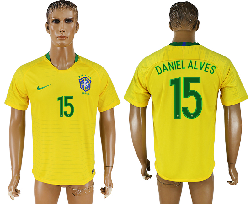 Men 2018 World Cup National Brazil home aaa version 15 soccer jersey
