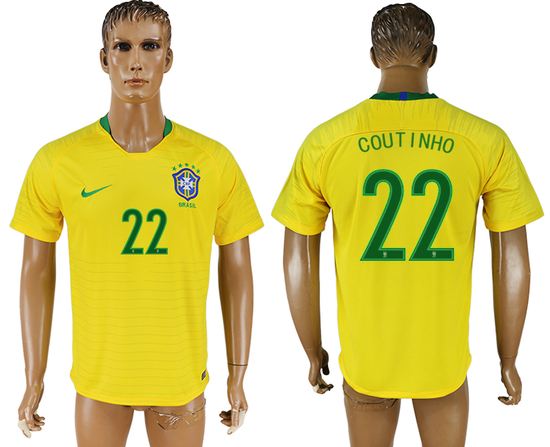 Men 2018 World Cup National Brazil home aaa version 22 soccer jersey