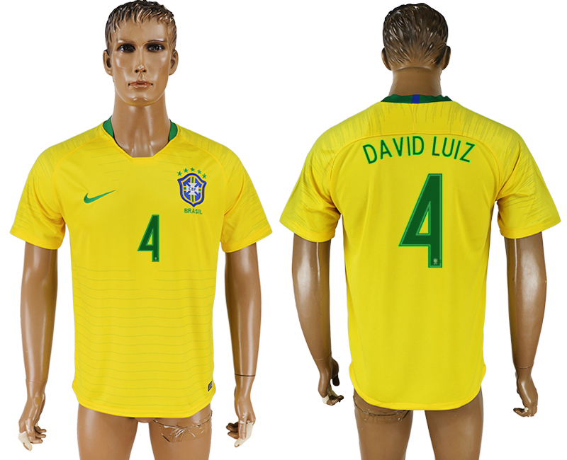Men 2018 World Cup National Brazil home aaa version 4 soccer jersey