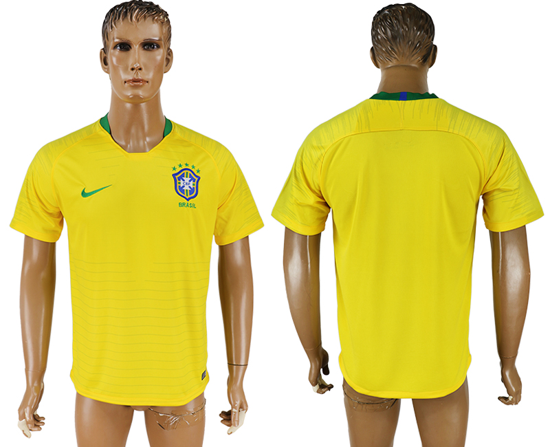Men 2018 World Cup National Brazil home aaa version soccer jersey
