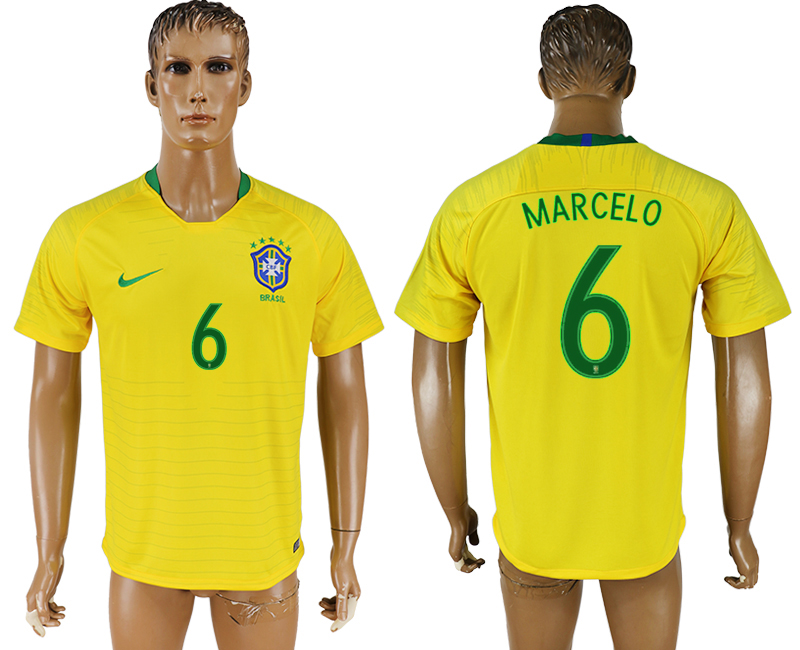 Men 2018 World Cup National Brazil home aaa version 6 soccer jersey