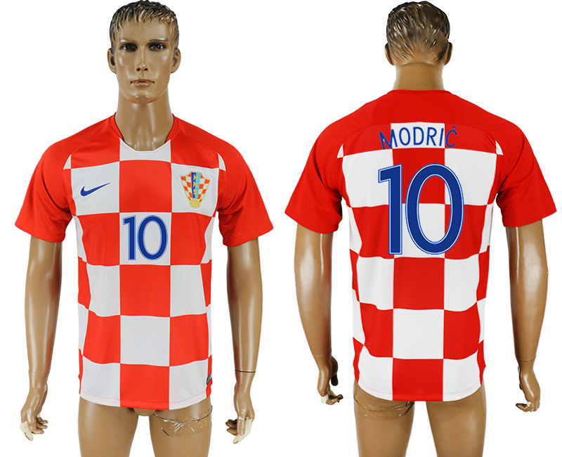 Men 2018 World Cup National Croatia home aaa version 10 soccer jersey