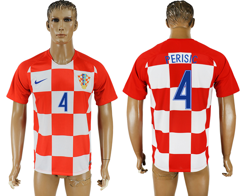 Men 2018 World Cup National Croatia home aaa version 4 soccer jersey