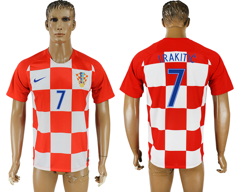 Men 2018 World Cup National Croatia home aaa version 7 soccer jersey