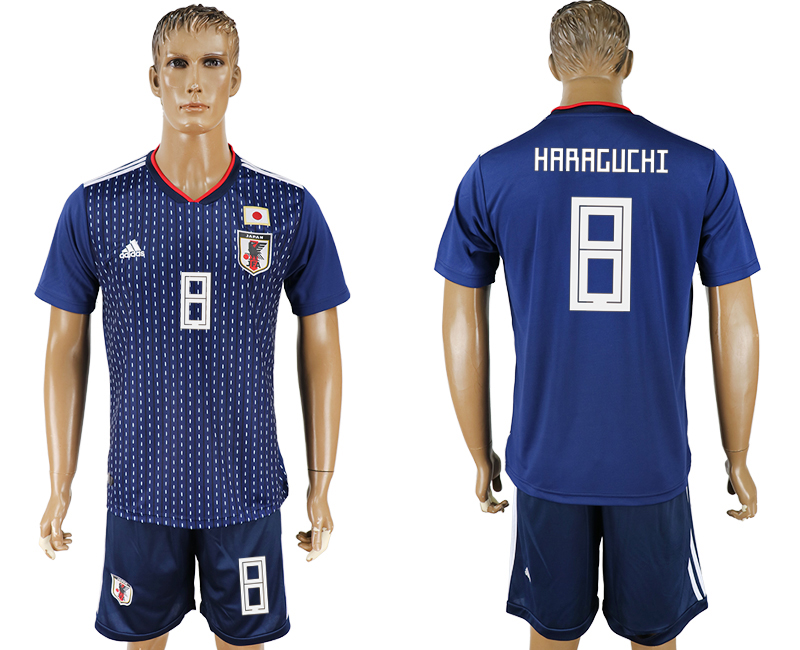Men 2018 World Cup National Japan home 8 blue soccer jersey