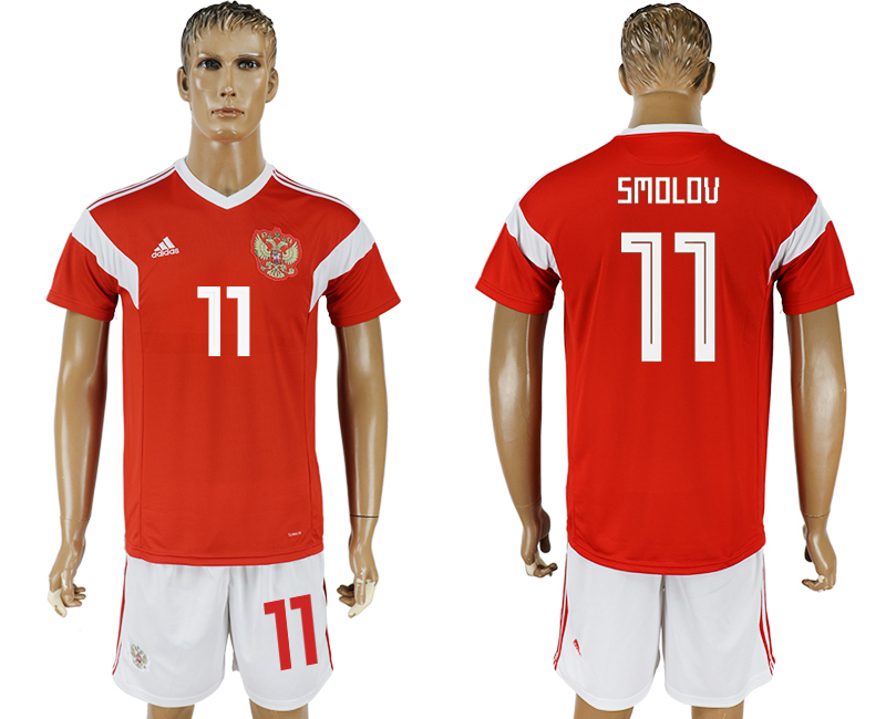 Men 2018 World Cup National Russia home 11 red soccer jersey