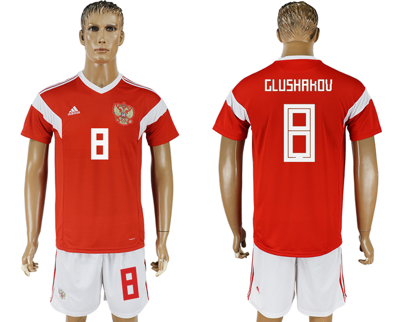 Men 2018 World Cup National Russia home 8 red soccer jersey