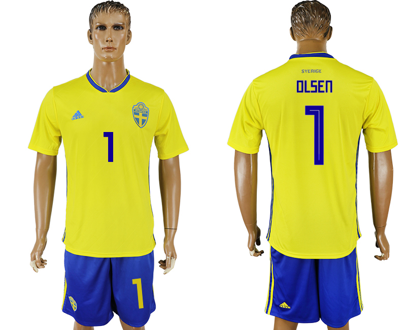 Men 2018 World Cup National Sweden home 1 soccer jersey