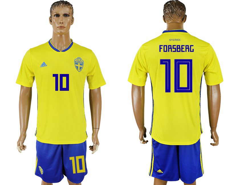 Men 2018 World Cup National Sweden home 10 soccer jersey