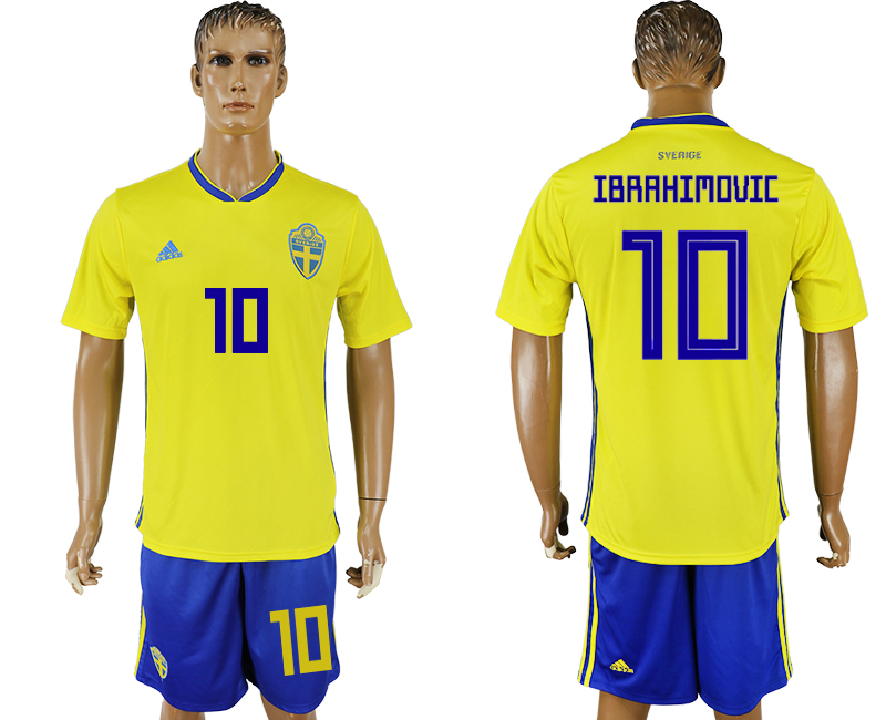 Men 2018 World Cup National Sweden home 10 yellow soccer jersey