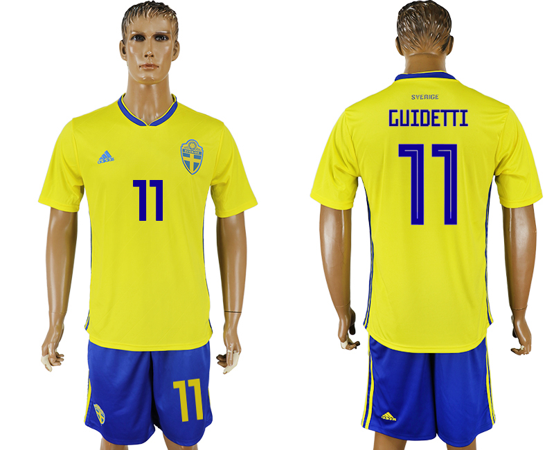 Men 2018 World Cup National Sweden home 11 yellow soccer jersey