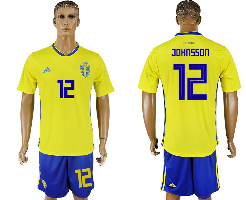 Men 2018 World Cup National Sweden home 12 soccer jersey