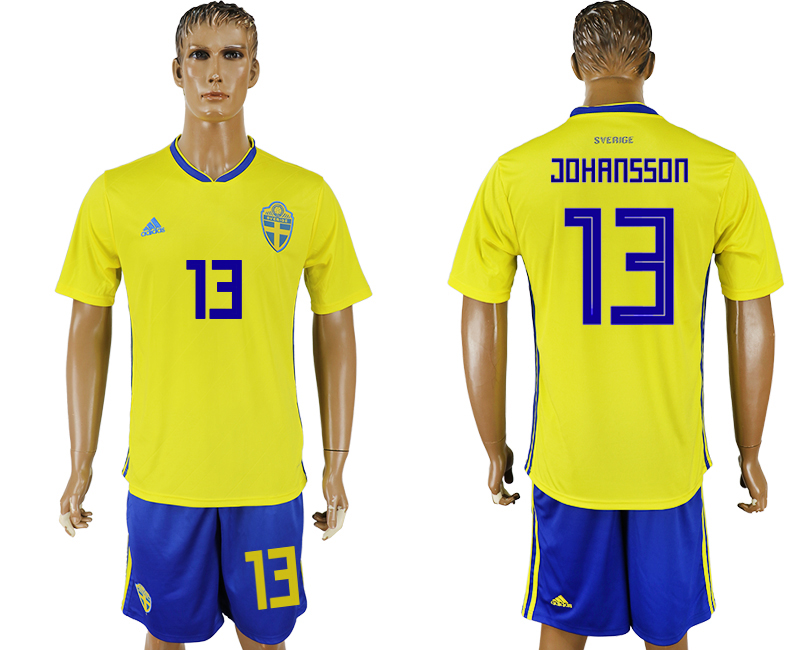 Men 2018 World Cup National Sweden home 13 soccer jersey
