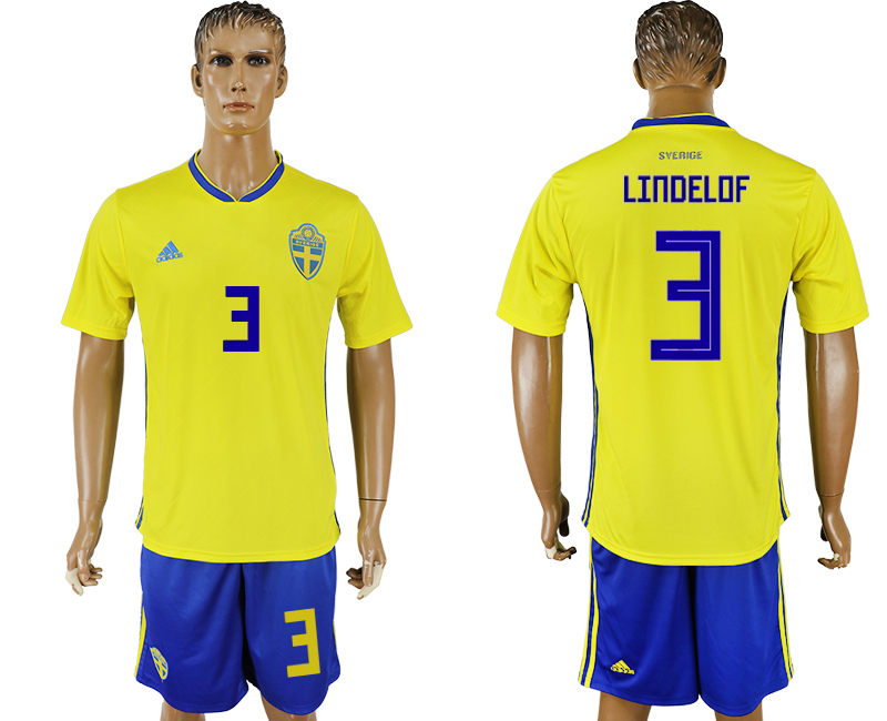 Men 2018 World Cup National Sweden home 3 soccer jersey