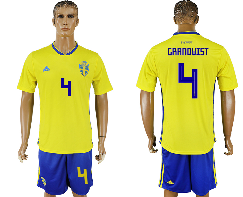 Men 2018 World Cup National Sweden home 4 soccer jersey