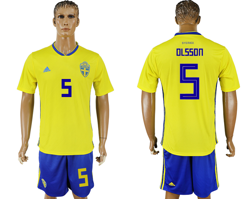 Men 2018 World Cup National Sweden home 5 soccer jersey