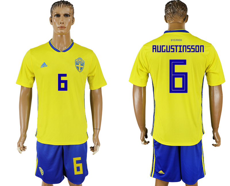 Men 2018 World Cup National Sweden home 6 soccer jersey