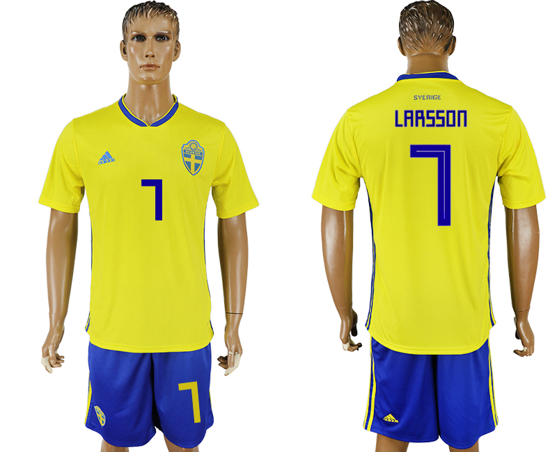 Men 2018 World Cup National Sweden home 7 soccer jersey