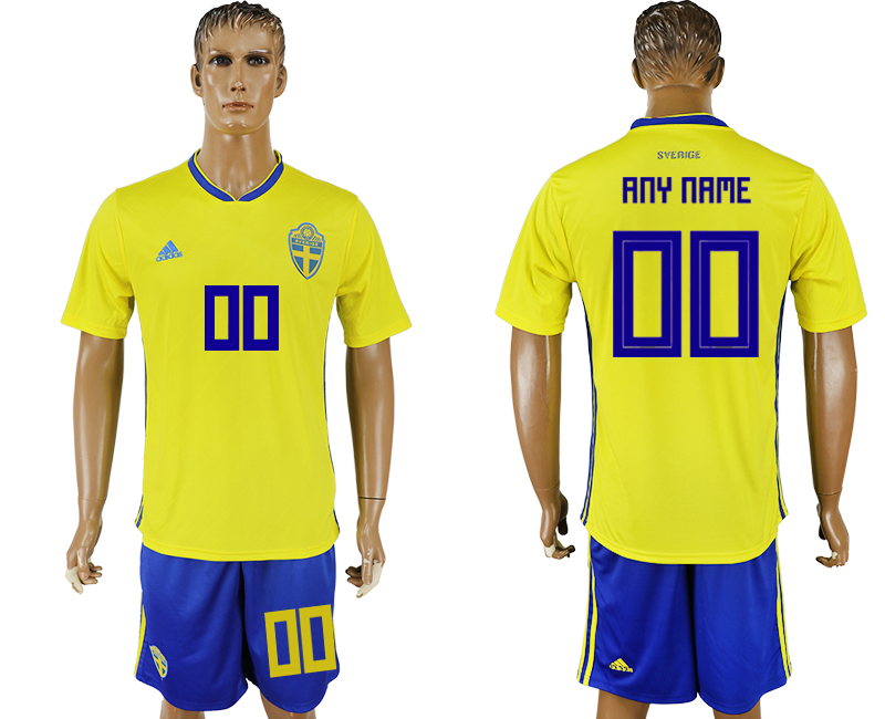 Men 2018 World Cup National Sweden home customized soccer jersey