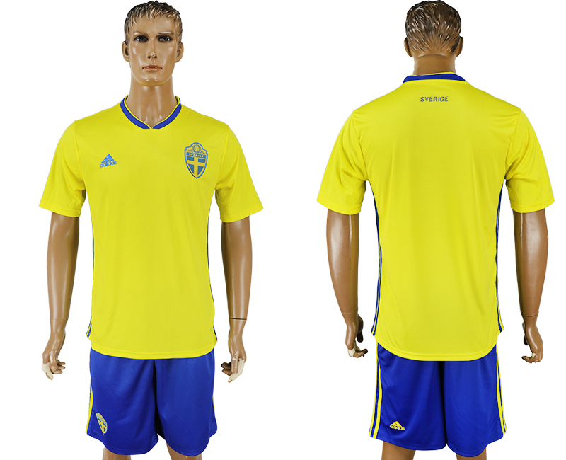 Men 2018 World Cup National Sweden home soccer jersey
