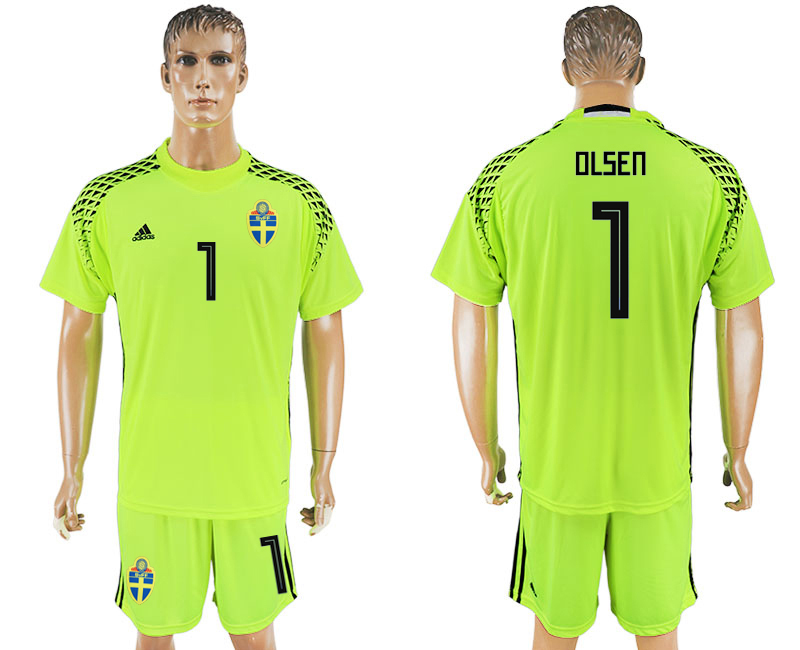 Men 2018 World Cup National Swedish fluorescent green goalkeeper 1 soccer jersey