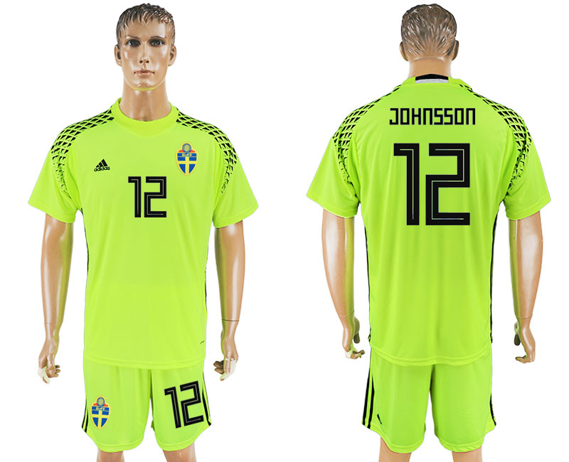 Men 2018 World Cup National Swedish fluorescent green goalkeeper 12 soccer jersey