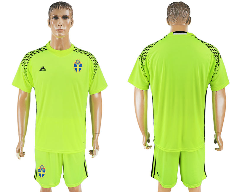 Men 2018 World Cup National Swedish fluorescent green goalkeeper soccer jersey
