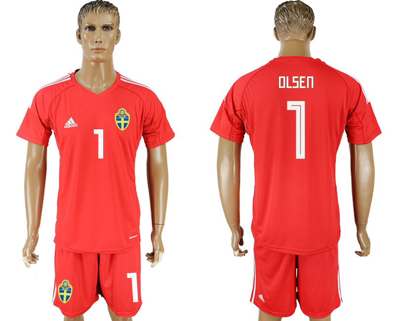 Men 2018 World Cup National Swedish red goalkeeper 1 soccer jersey