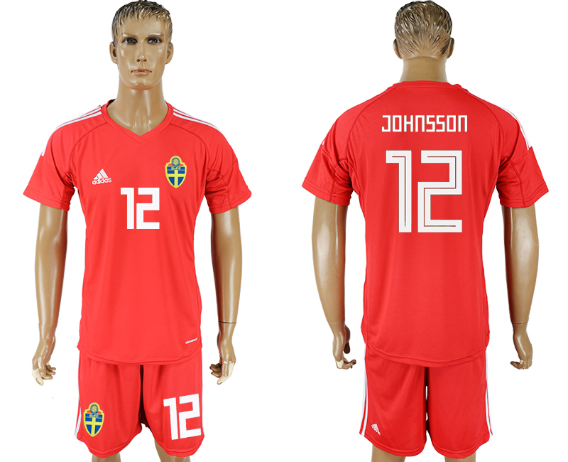 Men 2018 World Cup National Swedish red goalkeeper 12 soccer jersey