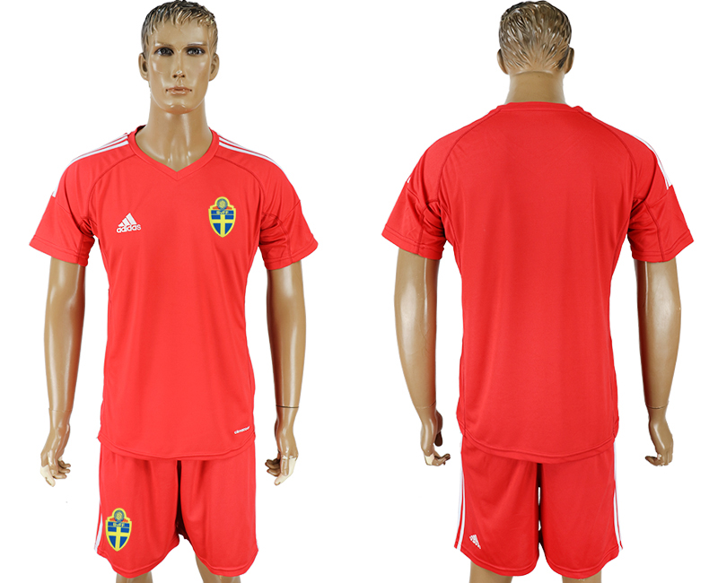 Men 2018 World Cup National Swedish red goalkeeper soccer jersey