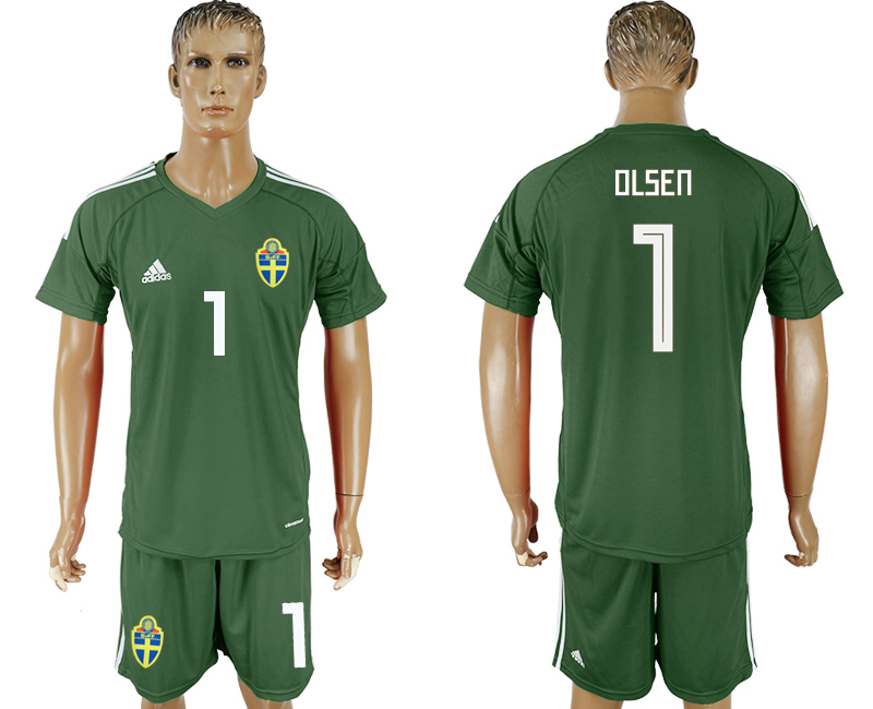 Men 2018 World Cup National Swedish tarmac goalkeeper 1 soccer jersey