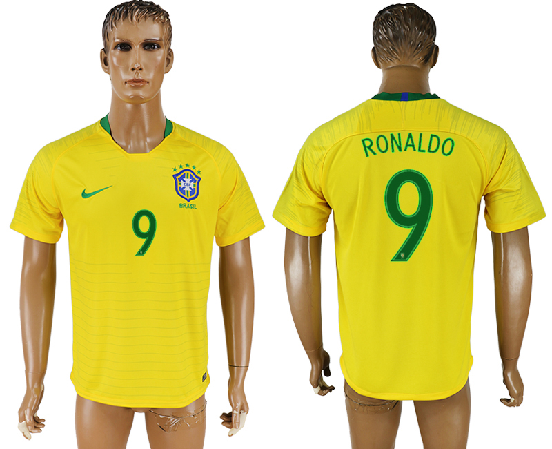 Men 2018 World Cup National brazil home aaa version 9 soccer jersey