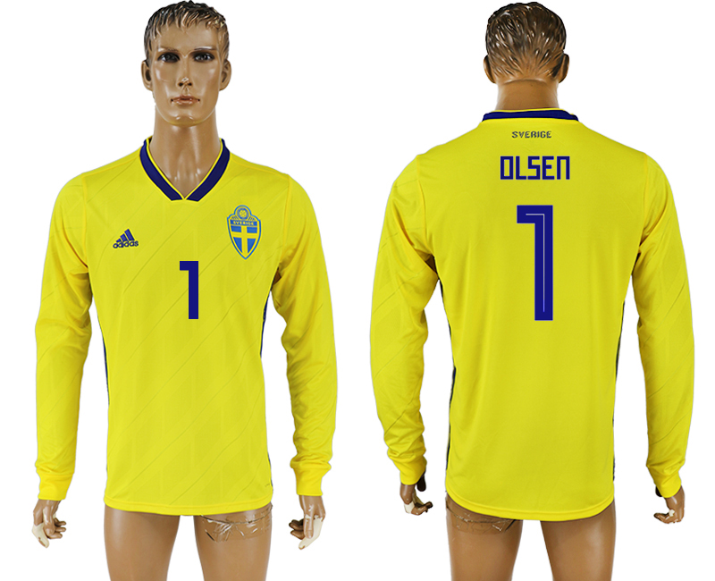 Men 2018 World Cup Sweden home long sleeve aaa version 1 yellow soccer jersey