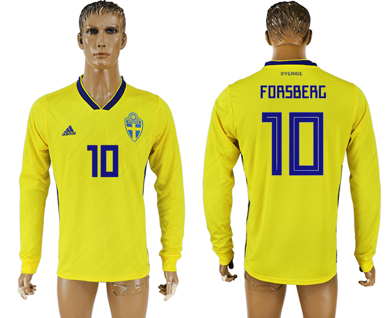 Men 2018 World Cup Sweden home long sleeve aaa version 10 yellow soccer jersey