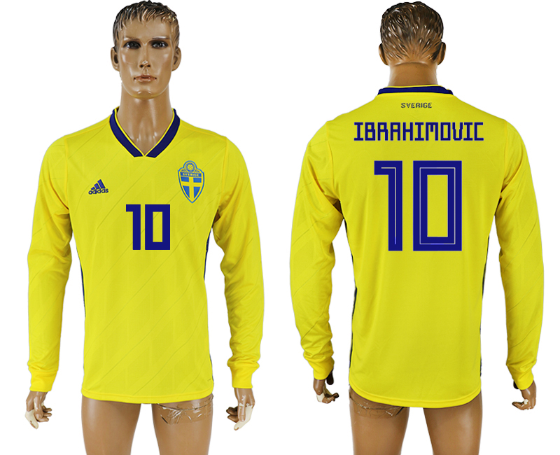 Men 2018 World Cup Sweden home long sleeve aaa version 10 yellow soccer jersey1